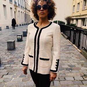 Chanel Vintage 02P Ivory Black Euro Button Jacket